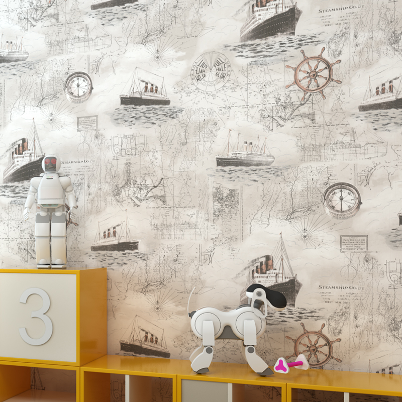 Blue Mediterranean fabric wallpapers bedroom living room background childrens cartoon pirate boat home  wall decor kids boys<br>