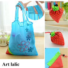 1Pcs Thicken Eco Storage Handbag Foldable Strawberry Shopping Bag Tote Reusable Supermarket Storage Bags Colorful
