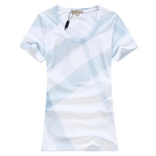2017 Fashion Summer T-shirts Women Cotton O-neck Casual Grid Short Sleeve Tops Tees Plus Size