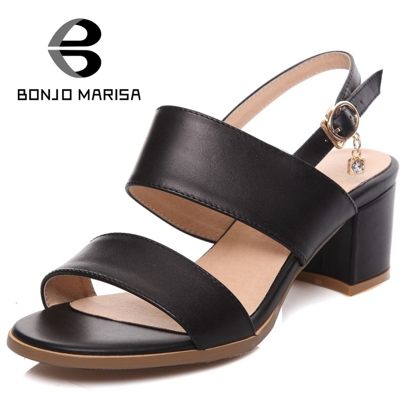 BONJOMARISA 2017 big size 33-43 full grain leather women sandals fashion thick heels ankle strap party dating shoes woman<br>