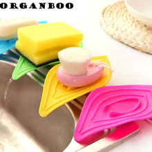1pcs no-slip leaves shape kitchen organizer sink sponge holder soap rack drain clean decorative shelves bathroom shower racks