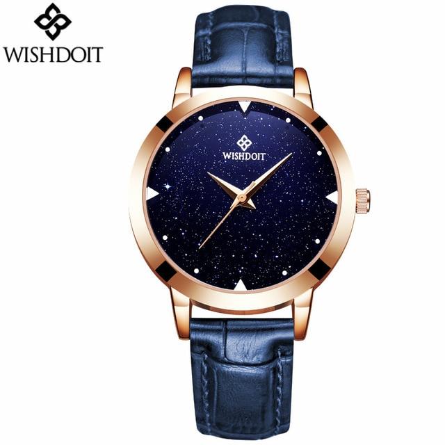WISHDOIT Brand Fashion Quartz Women Watches Waterproof Genuine Leather Wristwatch exquisite Ladies Rhinestone Dress watches<br>