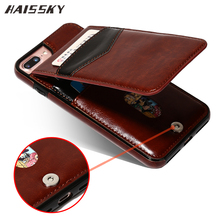 HAISSKY 5 5s SE Leather Case For iPhone 8 Plus 7 Plus 6 6s Plus Case Wallet Card Flip Cover Magnetic Fundas Phone Accessories