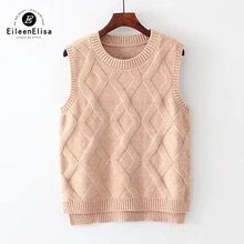 Eileen Elisa Argyle Sweater Women Autumn Casual Sweater Pullovers Sleeveless Sweater Vest For Women(China)