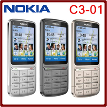 C3-01 Nokia C3-01 Unlocked Original Cell Phone GPRS WIFI Bluetooth 5MP 3G network Russian/Arabic keyboard phone Free Shipping(China)