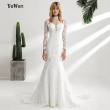 Buy YeWen Vintage High Neck Lace Wedding Dresses 2018 Long sleeves ivory mermaid wedding Gown outdoor vestidos de novia for $240.55 in AliExpress store