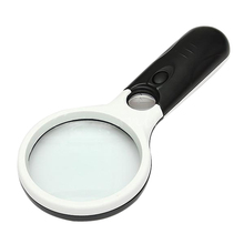THGS 3LED Light 45X 75/25mm Handheld Magnifier Jewelry Loupe Light
