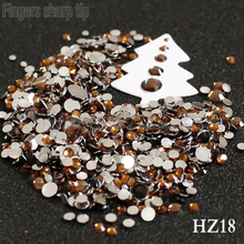 2017 Finger Sharp Tip 1000pcs 2mm-6mm Mix Sizes Yellow brown 3D Nail Resin Flat Bottom Popular Nail DIY Decorative Diamond HZ18(China)