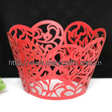 """heart"" laser cut cupcake wrapper for wedding and party decoration"