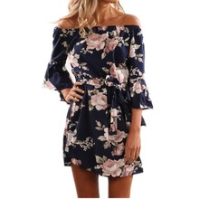 Buy 2017 Summer Floral Print Dress Sexy Shoulder Slash Neck Beach Dress Casual Flare Sleeve Women Dress Vestidos for $9.15 in AliExpress store