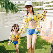 Mom and Daughter Bikini Set Parent-child Swimsuit Bikini Three-piece Mother Girl Swimming Clothes Children Cute Bathing Suit