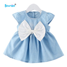 Startist Baby Girl Dress New Denim Baby Dress For Infants Princess Dress With Bow Baby Dresses Grils Clothes Vestido Infantil(China)