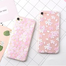 For iphone 6 6s 7 Plus Floral Cherry Blossoms Case Sakura Cover For iPhone 6plus 7plus Phone Cases Flower Peach Blossom Fundas