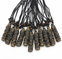 Wholesale lot 12pcs Zodiac Amulet Chinese Dragon Totem Charm Pendant Wood Beads Adjustable Cord Necklace Gift YN172(China)
