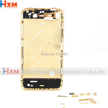 100% New For iphone 4G plated Gold Color Middle Board Chassis Bezel Middle Frame Free Shipping +Tracking No.