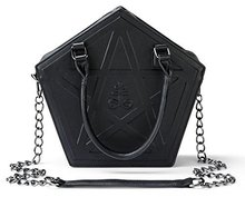 Pentagram Punk Darkness Gothic Five Star Women Girl Black PU Messenger Bag Handbag Chain(China)