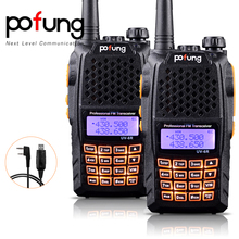 2PCS Pofung UV-6R UHF/VHF Two-way Radio Dual Band Dual Display FM Transceiver 128 channels CTCSS DCS +Programming Cable(China)