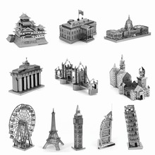 World Famous Building 3D Metal Puzzles Neuschwanstein White House Eiffel Tower Windmill Metal Earth Jigsaw Puzzle For Adult/Kids