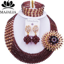 Majalia Luxury African Jewelry Set Dark purple Gold ab Crystal Bead Bride Jewelry Nigerian Wedding African Jewelry Sets 5AS013(China)