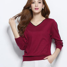 NEW autumn winter women's knitted Cashmere Sweater pullover V-neck Sweaters female fashion wild Wool sweater Slim14 color(China)