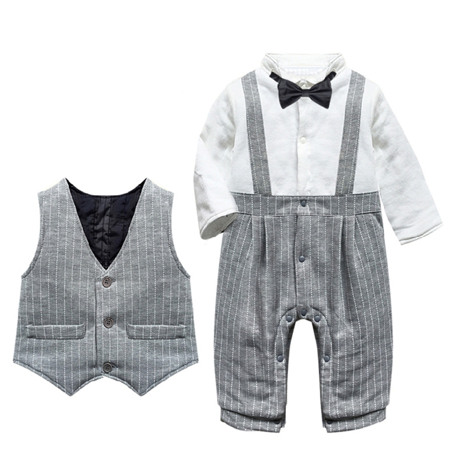 Baby Boy Romper Gentleman Thick Warm Cotton Baby Winter Jumpsuit 2pcs Romper+Vest Costume for Baby Infant Clothes for 7-24M<br><br>Aliexpress