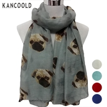2017  Lady Womens Long Cute Pug Dog Print Scarf Wraps Shawl Soft Scarves female beautiful scarf OT26z