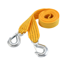 Car Tow Cable Heavy Duty Towing Pull Rope 2.8M 3 Tons Strap Hooks Van Road Recovery Emergency Yellow(China)