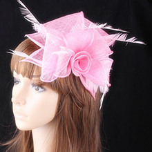 17 colors Elegant sinamay fascinators feather flowers for wedding hair accessories beauty bridal hats nice party headwear OF1538