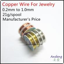 Copper Wire For DIY Jewelry,Craft, 0.1mm to 1.0mm, Gold, Silver, Brass, Sold by 1 Spool