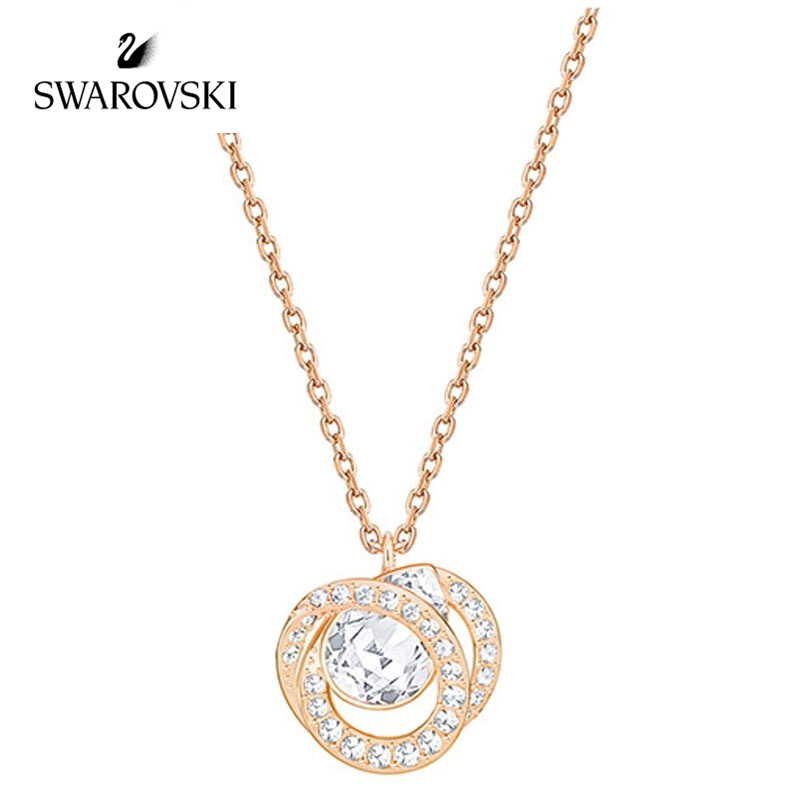 Origin Swarovski Tanabata gift fashionable ladies crystal spiral pendant necklace clavicle chain 5289025 5289028rose gold silver