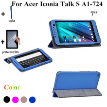 2015 NEW Silk Print Talk S Tablet Cover Case For Acer Iconia Talk S A1-724 7'' Stand Leather Cover Case +screen Protectors(China)