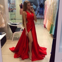 Illusion Sexy Red Long Mermaid Pageant Prom Dress Formal Evening Party Prom Gown Satin Sexy Custom Made Size 2- 22W