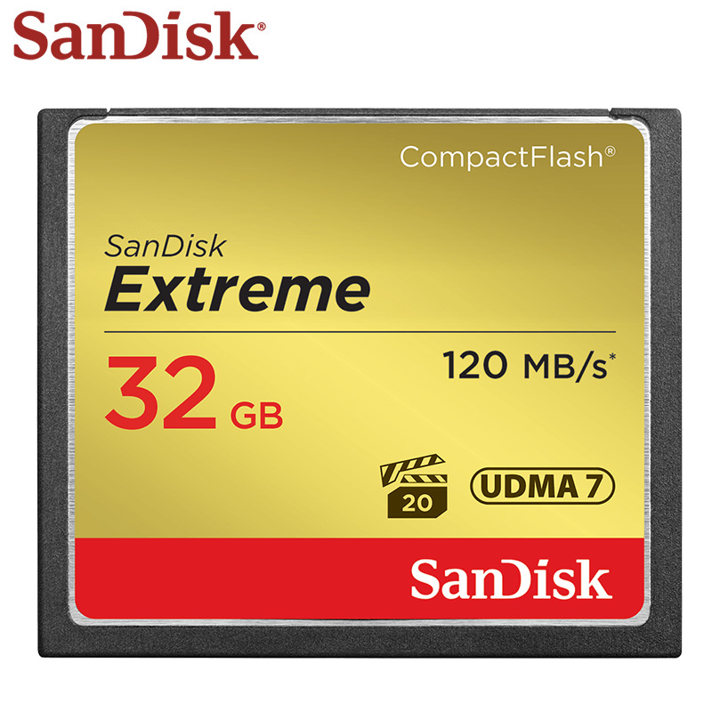 100% Original SanDisk Extreme Memory Card Compact Flash 32GB CF Card 120MB/s Flash For Camera Memory Card