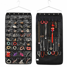 Double Sided 40 Pockets Hanging Jewelry Organizer Bracelet Earring Ring necklace Holder Hang Hook Bag New(China)