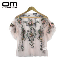 OMCHION New Blusa 2017 Summer O Neck Flare Sleeve Women Shirt Transparent Sexy Top Floral Embroidery Blouse Mesh Shirt QCS49(China)