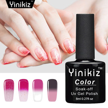 Yinikiz Thermo Nail Polish Temperature Color Changing Gel Soak Off LED UV Chameleon Gel Polish Lacquer Glitter Color Gel