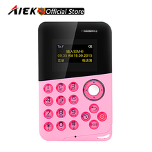 Newest Mini Card Phone AIEK/AEKU M8 Low Radiation Bluetooth Message Color Screen Childrens Pocket Cell Phones PK AIEK M5 E1 C6(China)