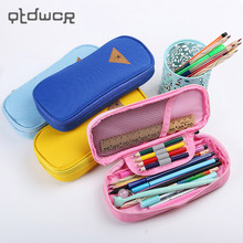 1PC Multifunction Storage Stationery Bag Korean Style Candy Color Canvas Pencil Case Escolar Papelaria School Supply(China)