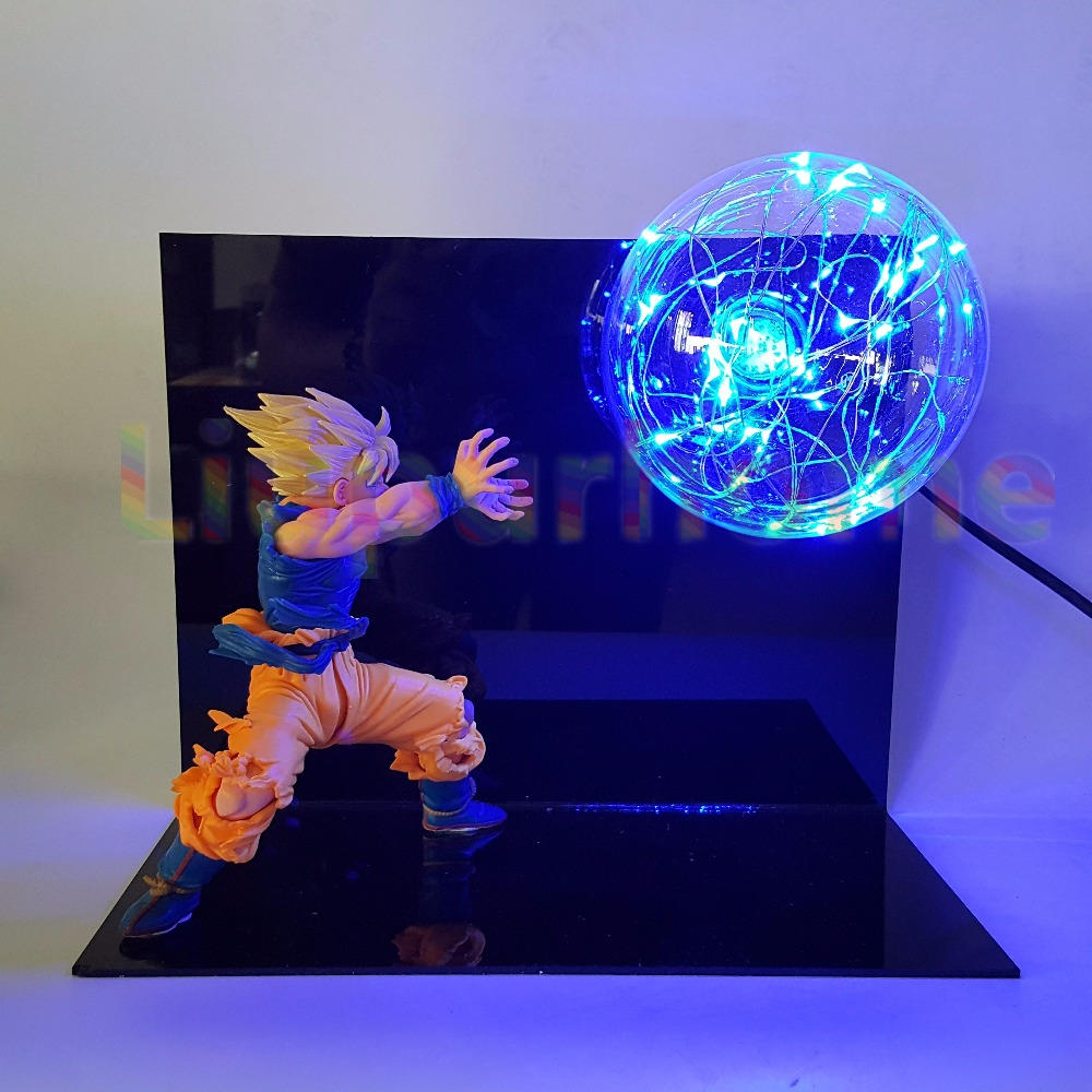 Dragon Ball Z Son Goku DIY Led Display Night Light Blue Flash Bulb Table Lamp Anime Dragon Ball Desk Light Lampara Led Luminaria