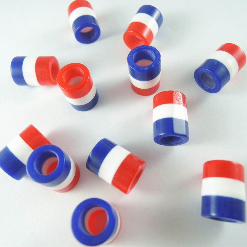 10 Red Acrylic Striped Beads