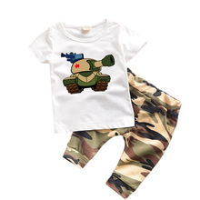 1-6 years Kids clothes Summer 2017 boys clothes set Camouflage Cartoon Tank Pattern Toddler Boys Clothing Sets for Children TK01