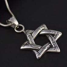 Vintage Star of David Pendant Necklace for Women Men 316L Stainless Titanium Steel Silver David Star Necklace Fashion Jewelry