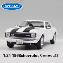 WELLY 1/24 Scale Classical USA 1968 Chevrolet Camaro Z28 Diecast Metal Car Model Toy New In Box For Collection/Gift