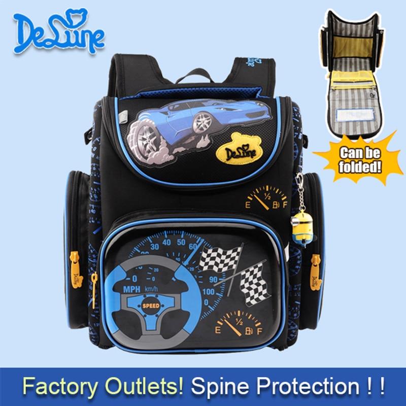Delune 2016 Boys School Bags Backpack Blue Car Yellow Plane children Kids Primary 1-5 Grade Orthopedic Waterproof Schoolbag<br><br>Aliexpress
