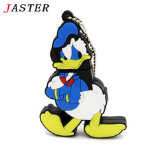 JASTER Cartoon Donald Duck USB Flash Drive Pen Drive 4GB 8GB 16GB 32GB 64GB USB 2.0 Pen Drive Memory Stick U Disk pen gift
