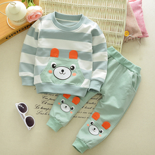 Bear Kids Clothes Baby Boys Clothing Set Toddler Boy Costume Fashion Bear Pattern T-shirt + Long Pants 2017 Spring Outfits(China)