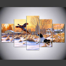 DAFENJINGMO ARTS Paintings Frank Mittelstadt Getting Up Art Nature Winter Snow Hunting Dog Bird Fly Sunrise 5 Canvas Poster(China)