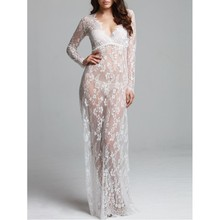 Buy YSMARKET Womens Sexy Nightwear Dresses Big Sizes Floor Length Women Perspective Lace Erotic Dress Long Robe Vestidos Y207