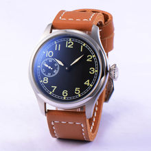 47mm Big Face Hand Winding 6497 Men's Watch Casual Style Luminous Mark Seagull Movement Brown Leather Strap Normal Buckle
