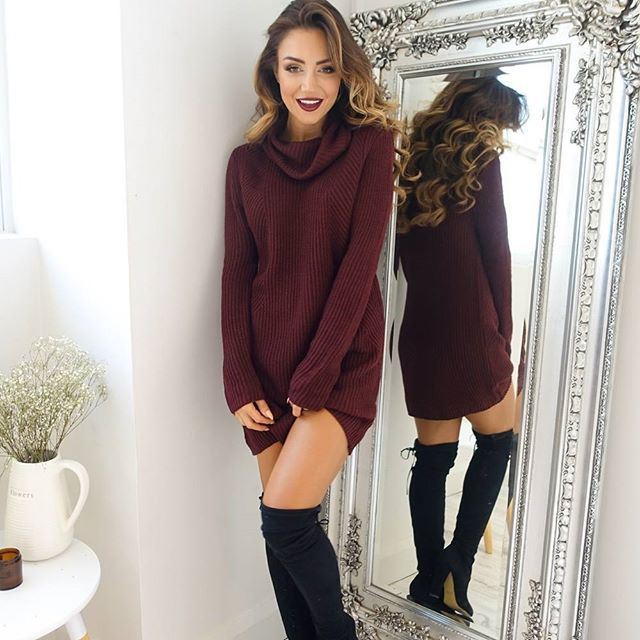 Turtleneck Long knitted pullover sweater, Women's Jumper, Casual Sweater 18